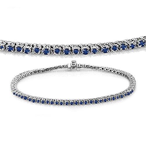 DazzlingRock Collection 2.00 Carat (ctw) 14K White Gold Round Cut Real Blue Sapphire Ladies Tennis Bracelet 2 (14k Blue Sapphire Bracelet)