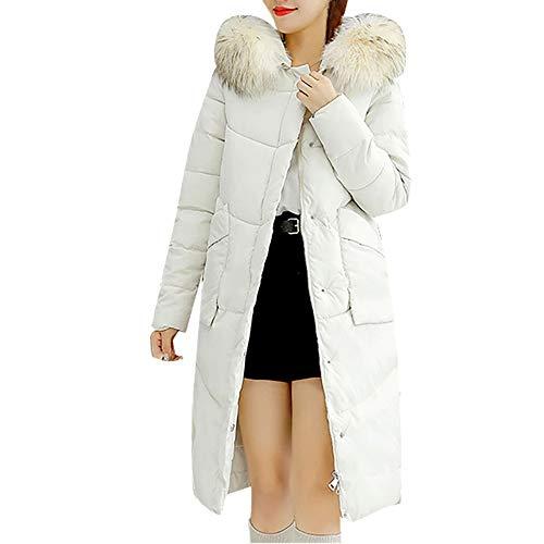 lab Coat Women 37 inch, Women Winter Coat Faux Fur Hooded Collar Long Jackets Warm Thicken Padded Coat, Women's Notched Lapel Button Closure Coat (Collar Coat Fur Notched)