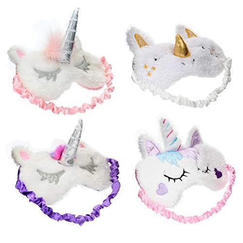 (4 Pack Unicorn Sleep Mask Cute Unicorn Horn Soft Plush Blindfold Eye Cover Eyeshade for Teens Girls Women Plane Travel Nap Night)