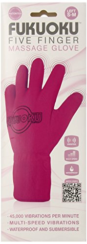 Fukuoku Right and Left Handed Five Finger Vibrating Massage Glove Kit, Fits Small To Medium, Pink, 9.55 Pound - Left Hand Massage Glove