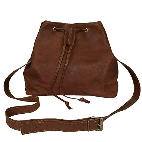 - Women's Genuine Leather Bucket Shoulder Bag Hobo Drawstring Women's Purse 12