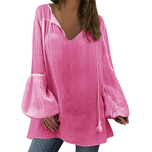 POQOQ Blouse Tunic Women Ladies Solid Long Sleeve V-Neck Pullover Tops Shirt(Hot Pink,XXL)]()