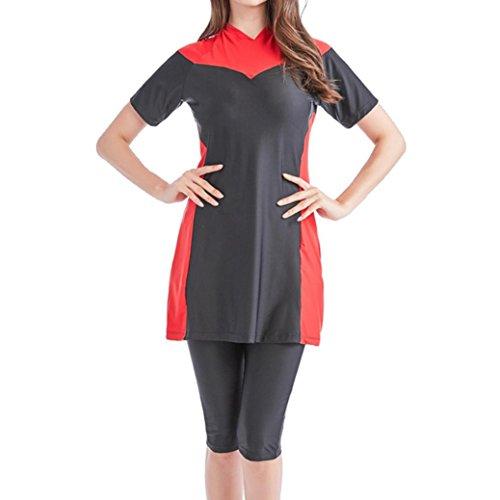 Longay Muslim Women Modest Swimwear Islamic Short Sleeve Top& Pants Swimwear Swimsuit (XXL, Red) by Longay