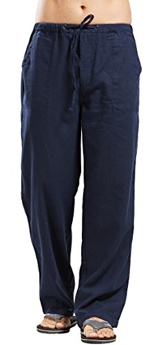 utcoco Qiuse Men's Casual Loose Fit Straight-Legs Stretchy Waist Beach Pants (Large, Navy)