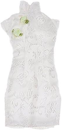 T TOOYFUL ゴージャスな 手作り 中国のチャイナドレスドレス 衣装人形用 白
