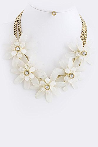 TRENDY FASHION JEWELRY OVERSIZED BEAD FLORAL NECKLACE SET BY FASHION DESTINATION | (White) (Oversized Cross Necklace)