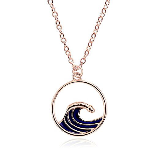 RUXIANG Enamel Round Sea Wave Spindrift Necklace with Temperature Change Color Pendant Jewelry (rose (Allie Pendant)