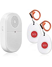 Wireless Caregiver Pager Call Button Personal Alarm Disability Pager Call Bell Elderly Home Nurse Vibration Alert System for Elderly/Senior at Home with 800+Feet Operating Range 1 Portable Receiver 2 Emergency Transmitter
