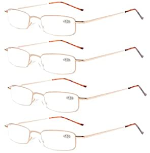 Eyekepper 4-Pack Compact Spring Temple Reading Glasses with Portable Pocket Clip Aluminum Case Gold +1.75