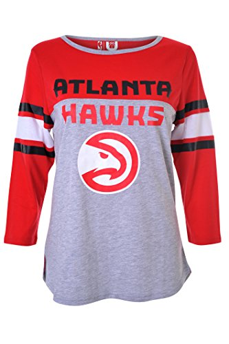 NBA Atlanta Hawks Women's T-Shirt Raglan Baseball 3/4 Long Sleeve Tee Shirt, Large, Gray