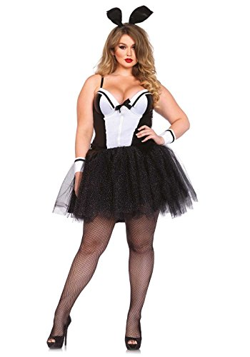Halloween Costumes For Curvy Girls (Leg Avenue Women's Plus-Size 4 Piece Curvy Bunny Costume, Black/White, 1X)
