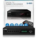 Analog to Digital TV Converter Box - UBISHENG U-003 Set-Top Box for HDTV Live 1080P ATSC Converter with TV Tuner, Time Shift, EPG, PVR Recording, Playback, Media Player, Digital Clock, Timer, Freeview