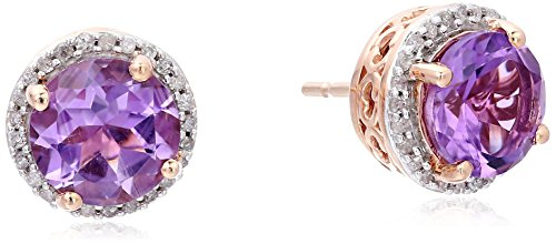 10K Rose Gold Amethyst Round with White Diamond Halo Earring 1 10 cttw