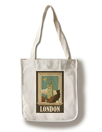 Lantern Press London, England - Big Ben and Cat Window (100% Cotton Tote Bag - ()