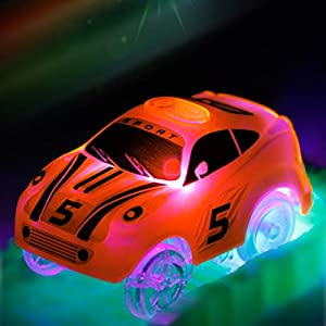 Mini Tudou Track Cars 2 Pack,Light Up Replacement Racing Track Car with 3 LED Lights Glow in Dark Magic Tracks Compatible with Most Tracks for Boys and Girls(Green,Orange)
