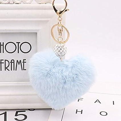 Key Chains - Lovely Heart Keychains Women s Pom Poms Faux Rex Rabbit Fur  Crystal Ball Key 2e977dcd22