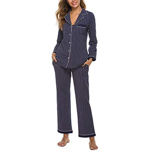 Womens Pajamas Set 2 Piece Nightwear Long Sleeve Sleepwear Button Down Soft Pjs Stripes Blue M