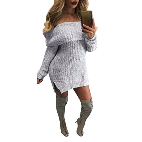 FAPIZI ♥ Women Dress ♥ Women Casual Long Sleeve Loose Knitted Jumper Off the Shoulder Sweaters Dress (L, Gray)