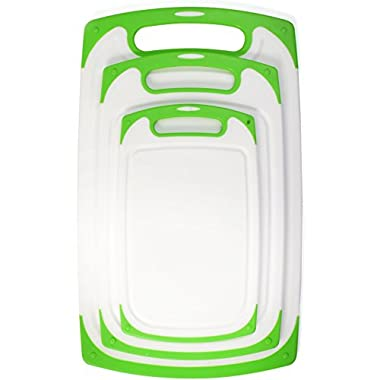 Blümwares 3-Piece Dishwasher-Safe Plastic Cutting Board Set with Non-Slip Stability Feet & Deep Drip Juice Groove | White with Green Borders