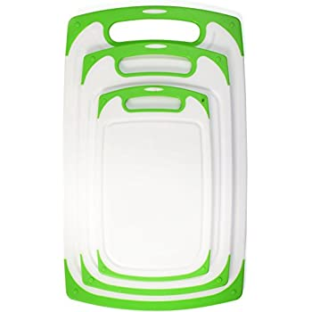 Plastic Cutting Boards Dishwasher Safe, 3-Piece Cutting Boards Set With Handles and Non-Slip Stability Feet & Deep Drip Juice Groove | White with Green Borders, By Blümwares