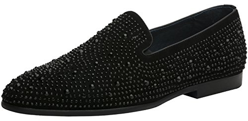 Jump Newyork Men's Luna Round Toe Leather and Rhinestone Slip-On Smoking Slipper Dress Loafer Black 9 D US by Jump