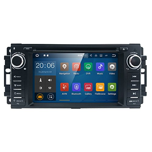 """Android 7 Car stereo CD DVD Player - In Dash Car Radio Multimedia Player Navigation System with 6.2"""" LCD Bluetooth Wifi GPS for Jeep Wrangler Dodge Chrysler"""