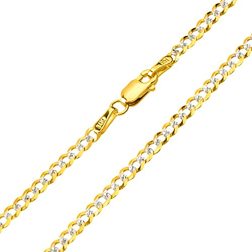 Solid 14K Yellow Gold 2.5mm Two Tone Pave Cuban Concave Link Chain Necklace with Lobster Claw Clasp, 16