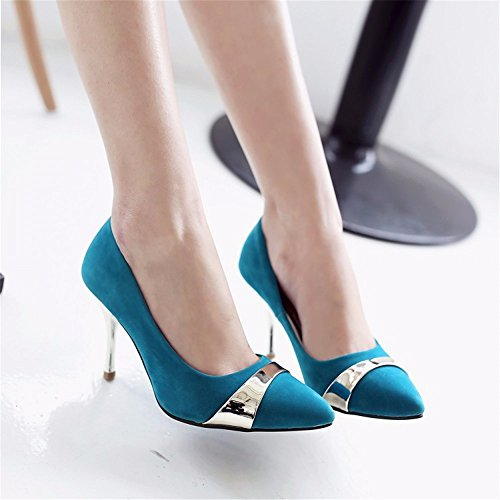 Toe heeled shoes Women's Pump pointed United women's Heels States the shoes Closed Strap shallow Europe and Ankle blue high suede metal waZZ4q1WX