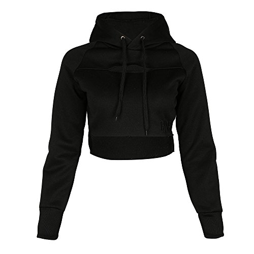 HGWXX7 Women Trendy Sexy Hoodie Pullover Crop Top Blouse Gym Sports Trainning Sweatshirt (M, Black)
