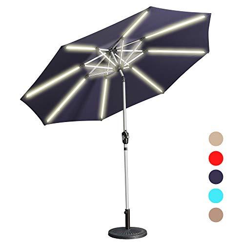 Aok Garden LED Outdoor Umbrella,9 Feet Solar Powered LED Light Bars Patio Umbrella with Push Button Tilt and Crank Outdoor Market Umbrella Garden Poolside Sunshade(Solar LED,Navy Blue) (Led Lights Powered Solar Patio Umbrella)