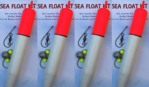 4 x Extra Large Sea/Pike Fishing Complete Sliding Float Kits 19cm Length