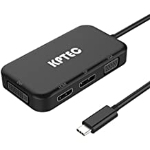 USB-C Multiport Adapter, KPTEC 4-in-1 USB C to HDMI 4K Digital DVI/ VGA/ DisplayPort DP Multiport Converter for Laptop, Notebook, MacBook Pro 2017, USB C Devices etc (Black)