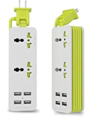 UPWADE Outlet Travel Power Strip Surge Protector with 4 Smart USB Charging Ports (Total 5V 4.2A Output) and 5ft Cord,Multi-Port USB Wall Charger Desktop Hub Portable Travel Charger Charging Station