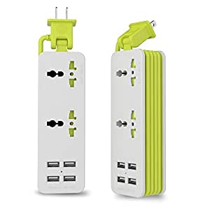 UPWADE Outlet Travel Power Strip Surge Protector with 4 Smart USB Charging Ports (Total 5V 4.2A Output) and 5ft Cord ,Multi-Port USB Wall Charger Desktop Hub Portable Travel Charger