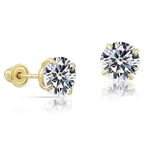 (14k Yellow Gold Solitaire Round Cubic Zirconia Stud Earrings in Secure Screw-backs (6mm))