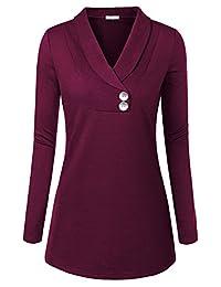 BAISHENGGT Women's Casual Shawl Collar Button Tunic Top