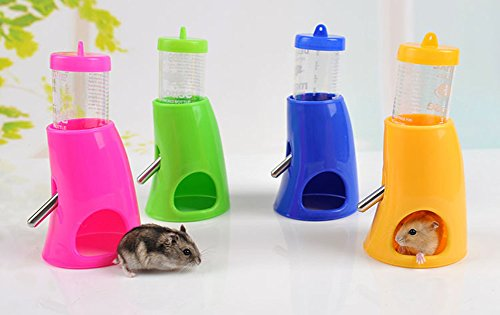 Fashionclubs 1pcs Small Pet Hamster and Mouse Hideout 80ml Water Bottle with Plastic Base Hut Random Color Pack of 1