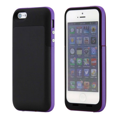 GEARONIC TM Black Purple 2 Pc External Rechargeable 2500mAh Backup Battery Hard Shell Case Back Cover For iPhone 5 5S