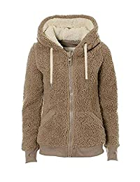 Women Fuzzy Hoodie Jacket Casual Zip Up Warm Fleece Coat Outwear Top