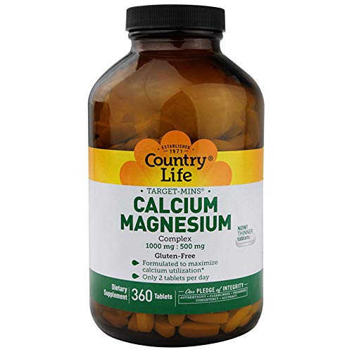 Country Life Target Mins Calcium-Magnesium Complex, 1,000 mg/500 mg Per 2 Tablets, 360-Count (Target Supplement)