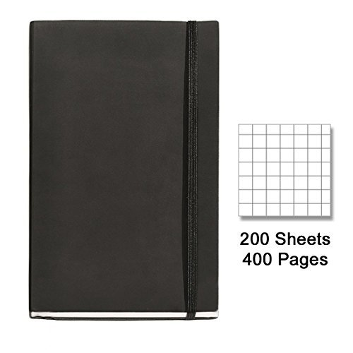 "Miquelrius Flexible Black Leather Cover Notebook, 6"" x 8.2"", Graph, 200 Sheets"