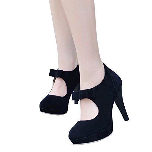 Bow Ankle Boot (Susanny Women's Fashion Suede Platform Dress Pumps With Bowtie Ankle Boots Court Wedding High Heel Black Shoes 7.5 B (M) US)