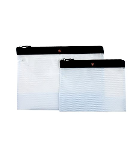 Victorinox Set of Two Spill-Resistant Pouches, Black/Red Logo