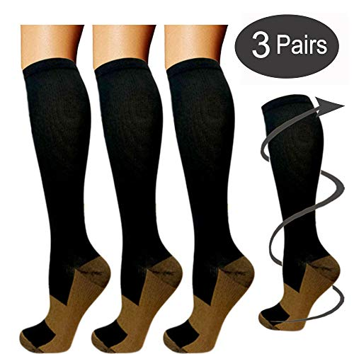 - Copper Compression Socks For Men & Women(3 Pairs)- Best For Running,Athletic,Medical,Pregnancy and Travel -15-20mmHg (Small/Medium, Black)