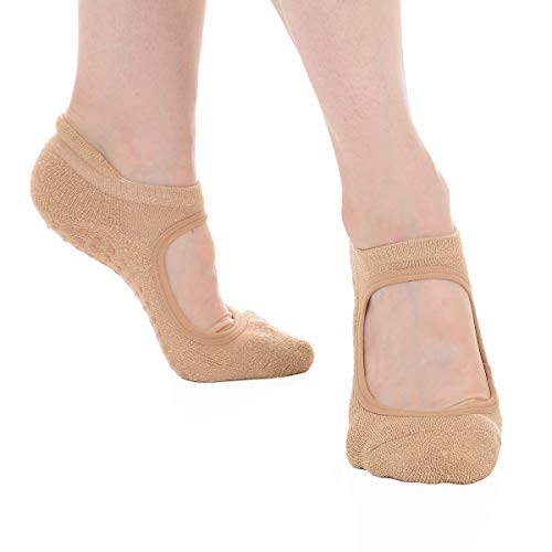 - Great Soles Women's Isabella Non Skid Grip Socks for Barre Pilates Yoga (Sand Gold)