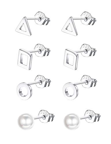 (Sllaiss 4 Pairs Tiny Geometric Stud Earrings 925 Sterling Silver Square Triangle Round Pearl Stud Earrings Set Hypoallergenic)
