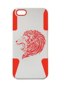 PLASTIC & SILICON RED/WHITE CASE FOR IPHONE 5/5S ANGRY LION COVER