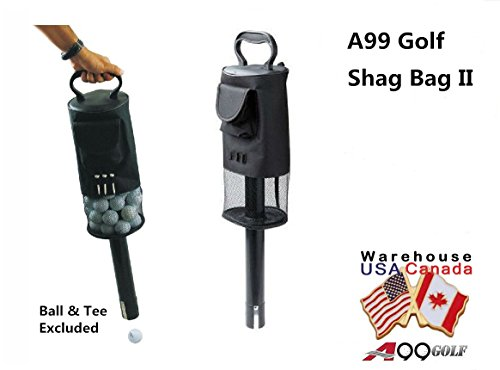 (A99 Golf Shag Bag Ball Pick up with Convenient Pocket and Tee Holder)