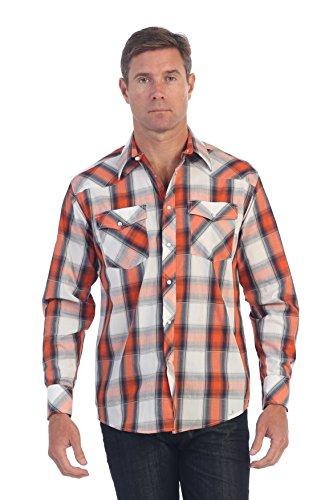 [Gioberti Mens Casual Western Plaid Long Sleeve Shirt, Orange Band / White, XX Large] (Orange Plaid Western Shirt)