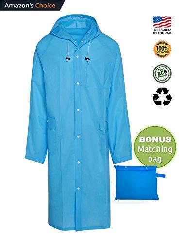 BlinQ Portable Rain Poncho Rain Jacket Raincoat with Drawstring Hood and Pocket | Extra Long Lightweight Packable Waterproof Rainwear | Adult Reusable Men Womens Rain Coat for Outdoor Travel - Blue